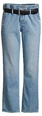 RtA Women's Dexter Buckle Belted Wide-Leg Paperbag Jeans