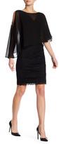 Marina Tiered Lace Capelet Sheath Dress
