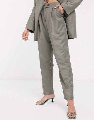 ASOS DESIGN extreme dad suit pants in charcoal