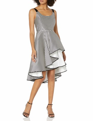 Halston Women's Sleeveless Scoop Stripe Dress with Dramatic Skirt