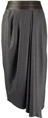 Brunello Cucinelli Check-Print Midi Skirt