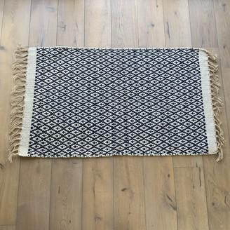Bill & Edna - Diamond Weave Pattern Cotton & Jute Eco Rug - cotton | jute | navy blue - Navy blue