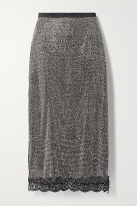 Christopher Kane Lace-trimmed Crystal-embellished Chainmail Midi Skirt - Black