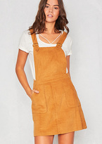 Missy Empire Zelma Camel Cord Pinafore Dress