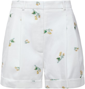Racil Max Pleated Floral-print Cotton-blend Twill Shorts
