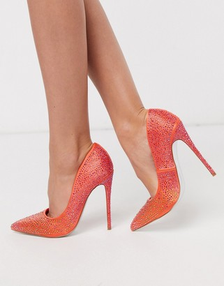 ASOS DESIGN Penelope embellished stiletto court shoes in orange