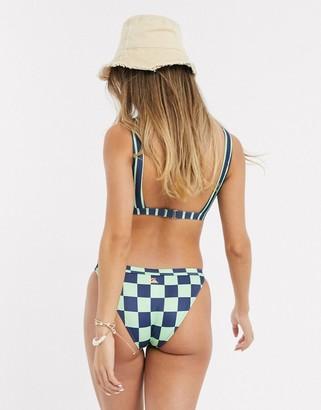 Quiksilver checkerboard logo bikini bottom in green