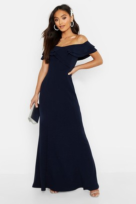 boohoo Petite Bardot Frill Fish Tail Maxi Dress