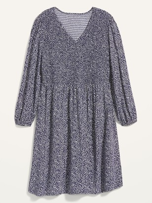 Old Navy Printed Smocked-Bodice Fit & Flare Plus-Size Dress
