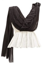 Vika Gazinskaya Asymmetric Draped Cotton-blend Blouse - Womens - Black White