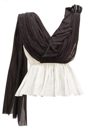 Vika Gazinskaya Asymmetric Draped Cotton-blend Blouse - Womens - Black White