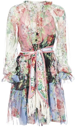Zimmermann Bellitude Spliced Floral Print Silk Short Dress