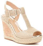 Antonio Melani Yardley T-Strap Etched Canvas Wedge Sandals
