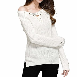 Yczx Womens Jumpers Casual Autumn Knit Sweater Pullovers Elegant Winter Long Sleeves Drawstring Collar Stylish Sweaters Loose Comfortable Soft Knitwear Chic Creative Design Tops XXL