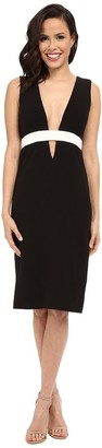 Nicole Miller Women's Techy Crepe Low V-Neck Dress