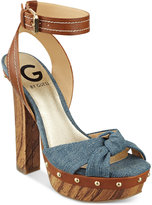 G by Guess Revail Wooden Platform Sandals