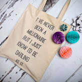 NV London Calcutta Dorothy Parker Quote Canvas Shopper