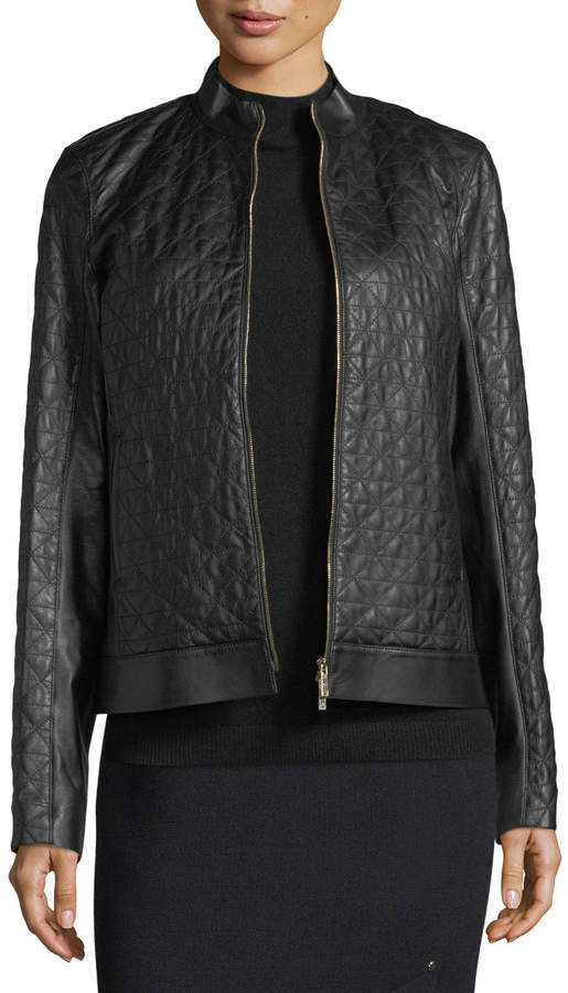 Lafayette 148 New York Becks Quilted Leather Moto Jacket