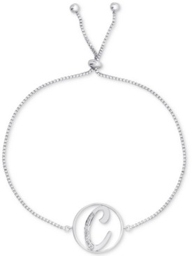 Macy's Diamond Accent Initial Bolo Bracelet in Silver-Plate
