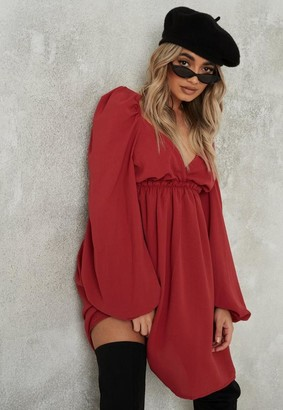 Missguided Burgundy Puff Sleeve Wrap Over Skater Dress