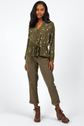 francesca's Rayna Embroidered Front Tie Blouse - Olive