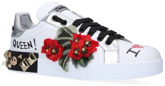 Dolce & Gabbana Leather Floral Graffiti Sneakers