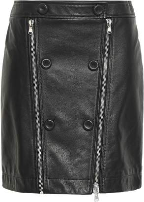 Moschino Zip-detailed Textured-leather Mini Skirt