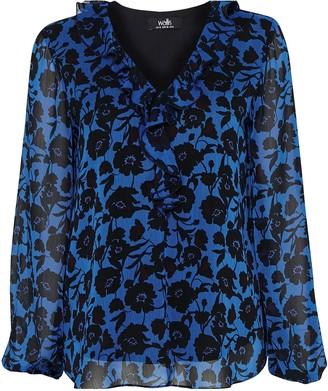 Wallis Blue Floral Print Ruffle Blouse