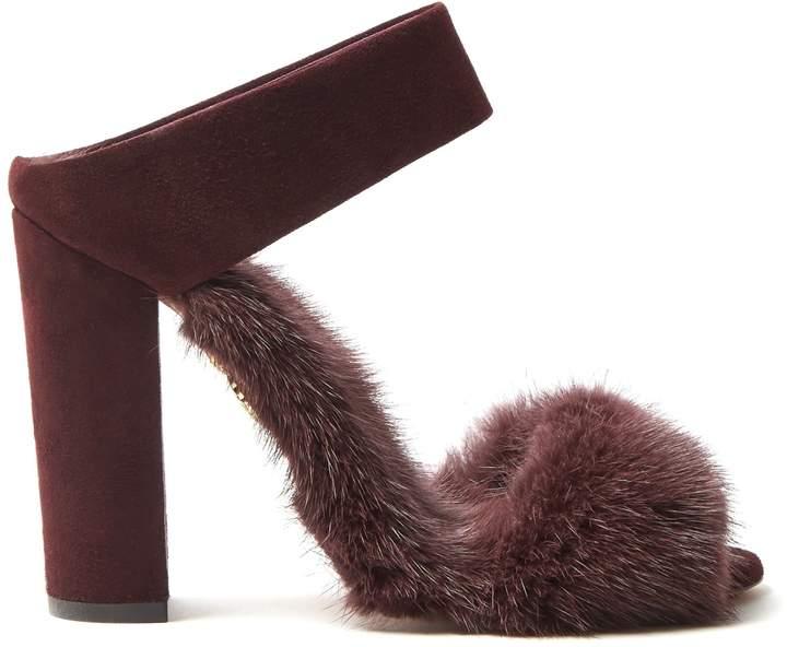 Aquazzura Purr Purr 115 fur-trimmed suede sandals