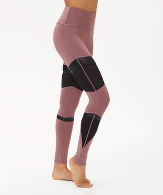 Bsp BSP Women's Leggings Rose - Rose Taupe Leopard Mesh Panel High-Waist Leggings - Women