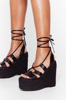 Womens Woven to Suggestions Lace-Up Wedge Sandals - black - 3