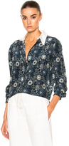 Chloé Starry Eyed Flower Print Blouse in Blue,Floral.