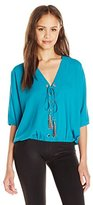 XOXO Women's Lace-Up Front Cold Shoulder Top