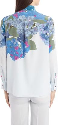 Valentino Hydrangea Print Silk Crepe de Chine Tie Neck Blouse