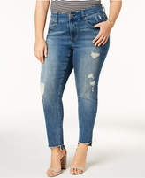 Melissa McCarthy Trendy Plus Size Step-Hem Distressed Skinny Jeans
