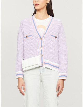 Sandro Lyna woven contrast-trim cardigan