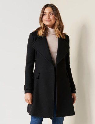 Forever New Mia Fit and Flare Coat - Black - 4