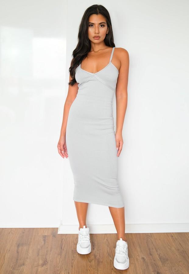 Missguided Recyled Grey Seam Detail Knit Midi Dress