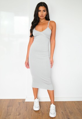 Missguided Recyled Grey Seam Detail Knit Midi Dress