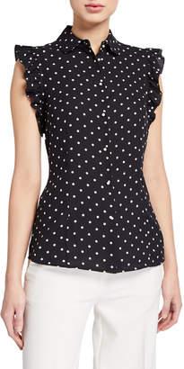 Anne Klein Dot Print Sleeveless Ruffle Button-Front Blouse