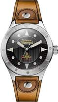 Vivienne Westwood Men's Quartz Watch with Black Dial Analogue Display and Brown Leather Strap VV160BKBR