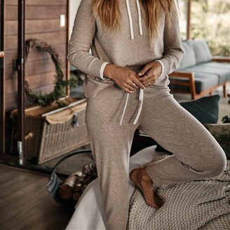 Summersalt The Coziest Cashmere Blend Jogger - Toffee & White Sand
