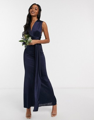 TFNC Bridesmaid multi way maxi dress in navy