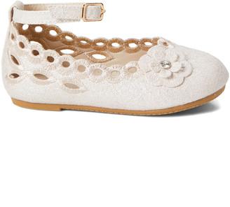 Blush B-Lush Zula Shoes Girls' Ballet Flats BLUSH - Blush Floral Openwork Ankle-Strap Flat - Girls