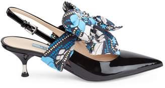 Prada Kitten Heel Leather Bow Slingback Sandals