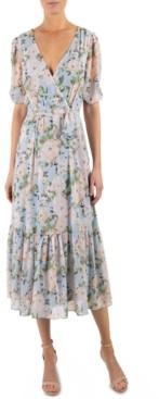 Julia Jordan Floral-Print Surplice Midi Dress