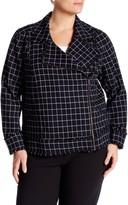 14th & Union Check Print Knit Moto Jacket (Plus Size)