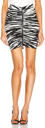 Burberry Print Mini Skirt With Zip And Ruching Detail in Monochrome | FWRD
