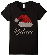 Women's Believe in Christmas T-shirt Funny Santa Hat Rhinestone Tee XL