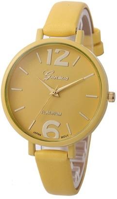 Toamen Women Girls Fashion Classic Wrist Watch Faux Leather Band Analog Display Quartz Dress Watch Gift (Yellow)